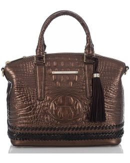 Palermo Collection Duxbury Crocodile-embossed Whip-stitched Tasseled Satchel