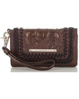 Palermo Collection Debra Crocodile-embossed Whip-stitched Wristlet