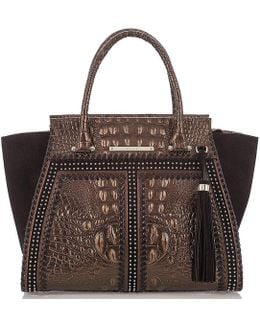 Palermo Collection Priscilla Crocodile-embossed Whip-stitched Tasseled Studded Satchel