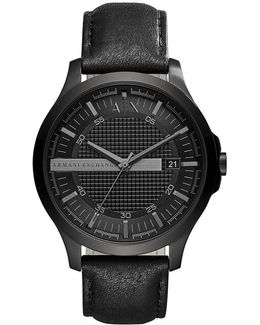 Ax Analog & Date Leather-strap Dress Watch