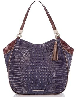 Lucino Collection Thelma Crocodile-embossed Tasseled Tote