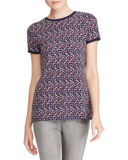 Petite Geo-print Crewneck Shirt
