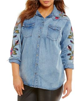 Plus Pearl Embroidered Shirt