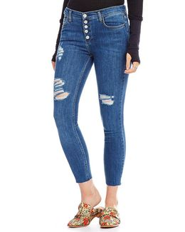 Destroyed Reagan Button Front Skinny Jeans
