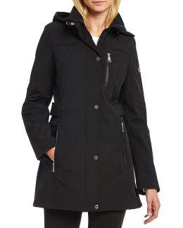 Soft Shell Tab Waist Hooded Coat