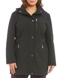 Plus Soft Shell Tab Waist Hooded Coat