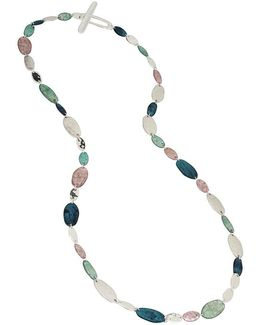 Silver-tone Multi-stone Long Necklace