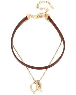 Multi-strand Leather Choker & Leaf Pendant Necklace