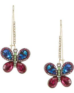 Multi-color Butterfly Drop Statement Earrings