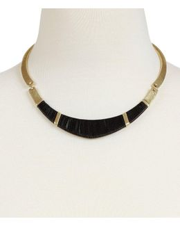 Leather-wrapped Hammered Collar Necklace