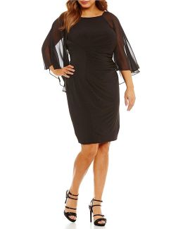 Plus Chiffon Capelet Sheath Dress