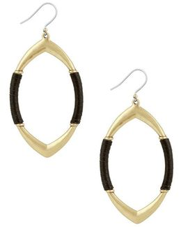 Leather-wrapped Hoop Drop Earrings
