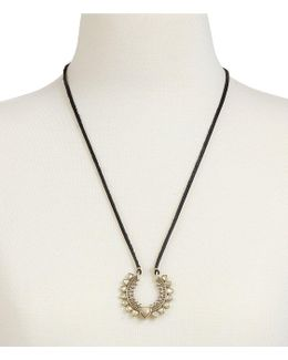Adjustable Leather & Rock Crystal Pendant Necklace