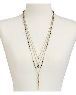 Tiger S Eye & Rock Crystal Hamsa Multi-strand Necklace