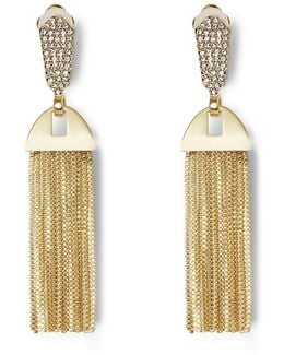 Chain-tasseled Pav Clip-on Statement Earrings