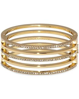 Pav Crystal Hinge Bangle Bracelet