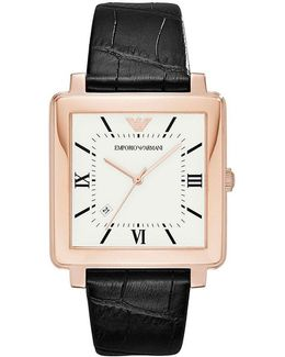 Square Analog & Date Embossed Leather-strap Dress Watch