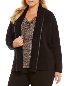 Plus Knit Leather Trim Jacket