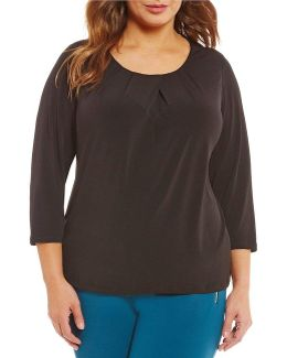 Plus Matte Jersey 3/4 Sleeve Top