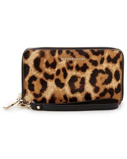 Leopard-print Haircalf Large Multifunction Phone Wallet