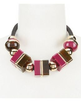 Mulholland Mod Faux-leather Collar Necklace