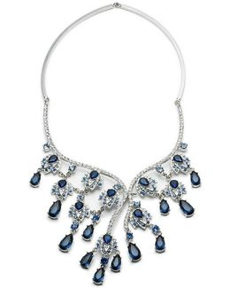 Silver-tone Multi-stone & Pave Statement Necklace