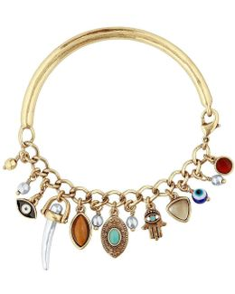 Turquoise Hamsa & Evil Eye Half-cuff Charm Bracelet