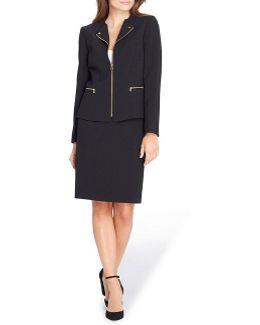 Zipper Front Crepe Skirt Suit