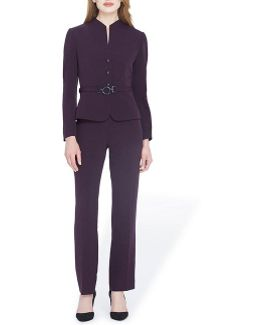 Crepe Belted Pant Suit