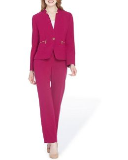 One-button Stand-collar Pantsuit