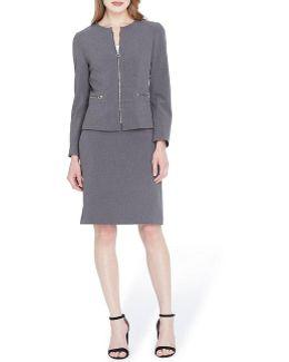 Bi-stretch Zip Front Skirt Suit