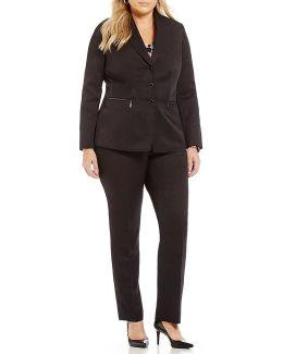 Plus Shadow-stripe Pant Suit