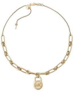 Gold-tone Stainless Steel Padlock Charm Collar Necklace