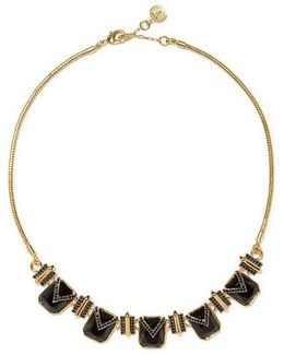 Pav Crystal Gold-tone Collar Necklace