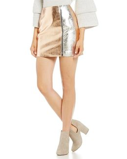 Audrey Faux Metallic Leather Mini Skirt