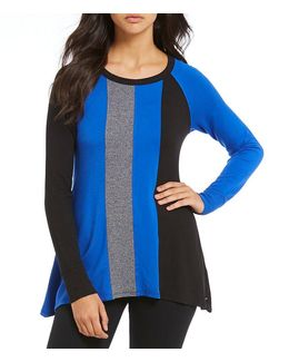 Performance Triple Colorblock Sharkbite Hem Knit Top