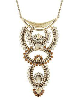 Quartz Rock Crystal Sunburst Statement Necklace
