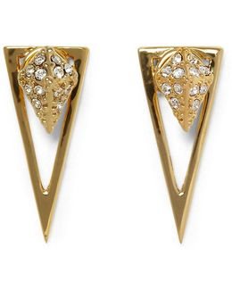 Pav Crystal Pyramid Front/back Earrings