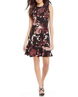 Velvet Trim Floral Print Scuba Crepe Fit-and-flare Dress