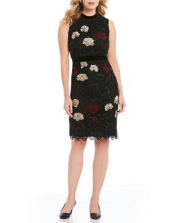 Velvet Trim Embroidered Floral Lace Sheath Dress