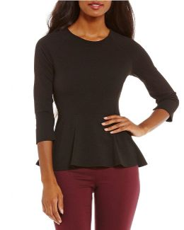 Knit Crepe Seamed Peplum Top