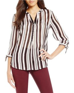 Stripe Georgette Henley Top