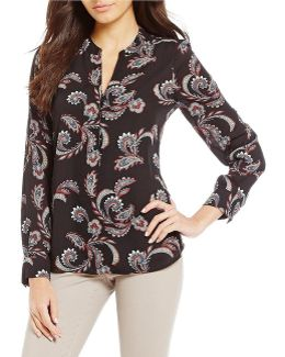Paisley Print Georgette V-neck Top