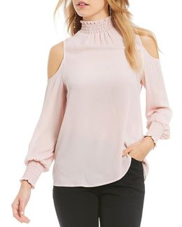 Smocked Georgette Cold Shoulder Long Sleeve Top