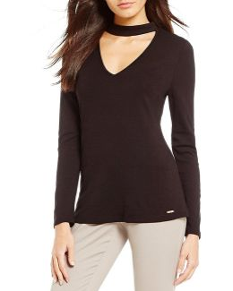 Choker V-neck Long Sleeve Matte Jersey Tunic