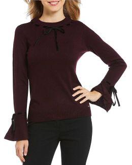 Ribbon Trim Bell Cuff Fine Gauge Knit Sweater