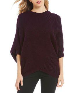 Ribbed Knit Asymmetrical Hem Poncho Sweater