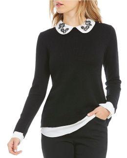 Embellished Collar Sweater Twofer Top
