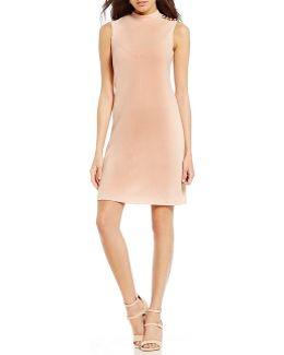 Scuba Crepe Mock Neck A-line Dress