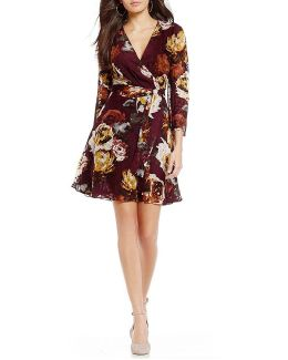 Floral Print Belted Faux-wrap Bell Sleeve Dress